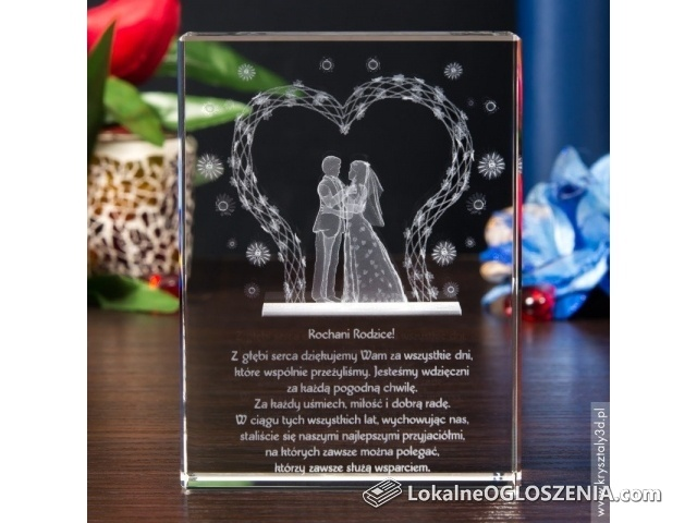 Kryształ 3D z motywem Młodej Pary w Altance na prezent dla rodziców