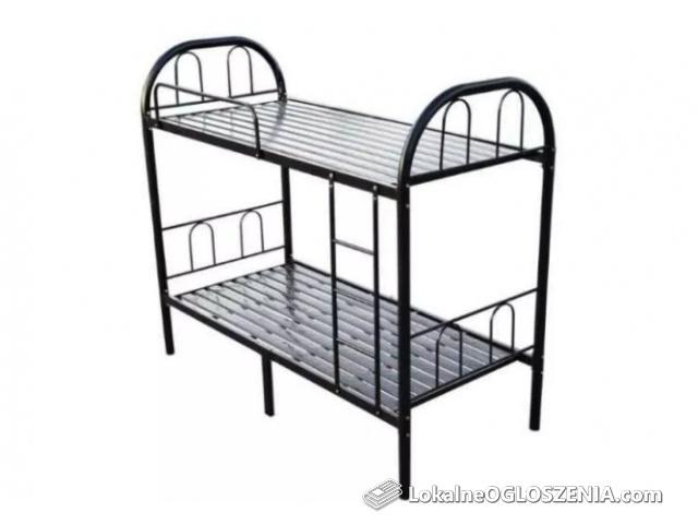 Łóżko piętrowe metalowe solidne ze stelażem pracownicze czarne H U R T