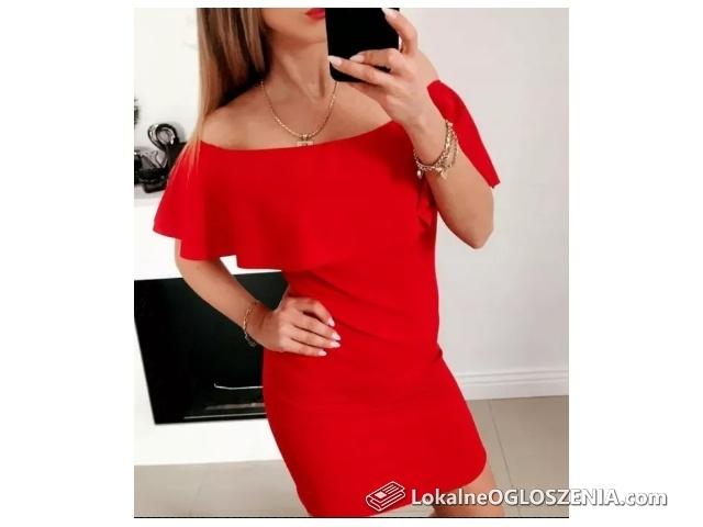 Czerwona sukienka hiszpanka odkryte ramiona wesele S/M roz.UNI falbana