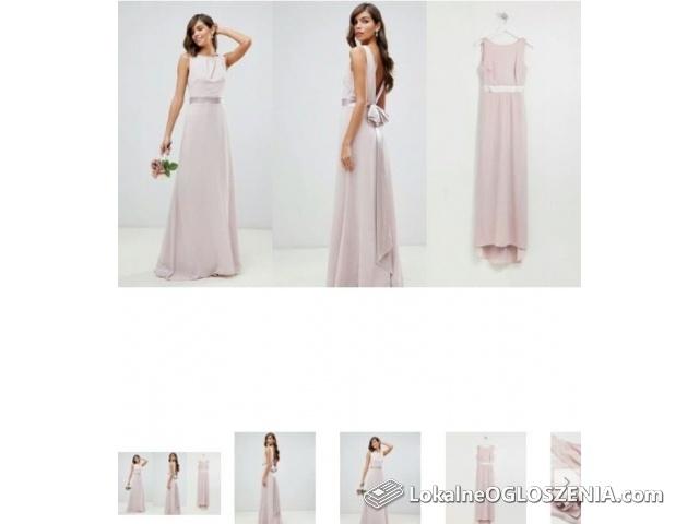 Piękna sukienka maxi wesele pudrowa XS