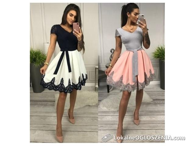 Sukienka elegancka, rozkloszowana- wesele, chrzciny, komunia 40-48