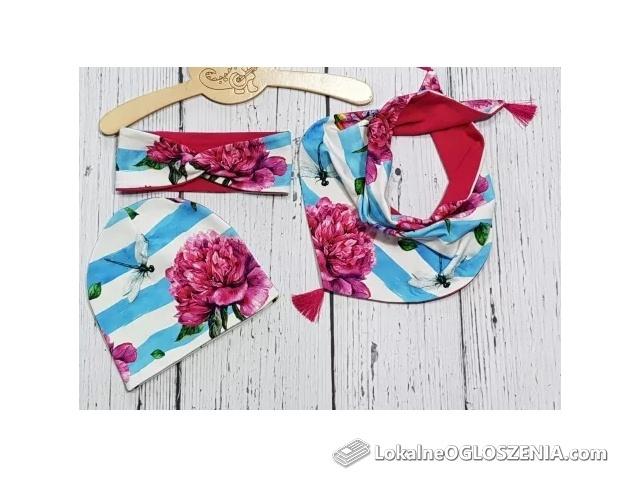 Komplet wiosenny dla dziewczynki czapka lub opaska chusta lub komin