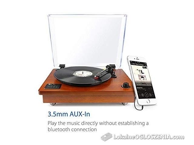 Gramofon na płyty winylowe retro drewno styl USB bluetooth