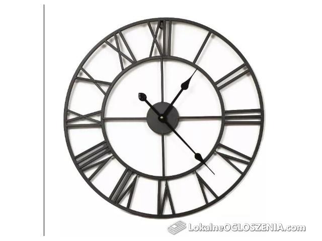 Metalowy Zegar Ścienny Vintage 60 cm Czarny