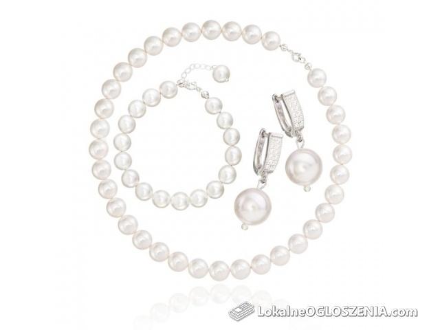 Komplet srebrny z białymi perłami 10mm
