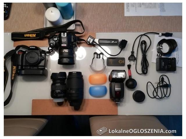 Lustrzanka Nikon d40 zestaw + obiektywy + lampa błyskowa