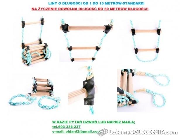 Drabina sznurowa, linowa, dekarska - długość 10 m.Cena z dostawą!