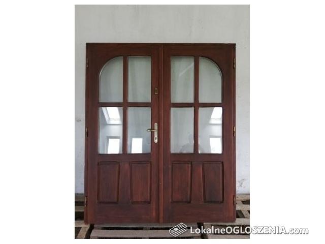 Drzwi drewniane dwuskrzydłowe, 177x210 bdb stan
