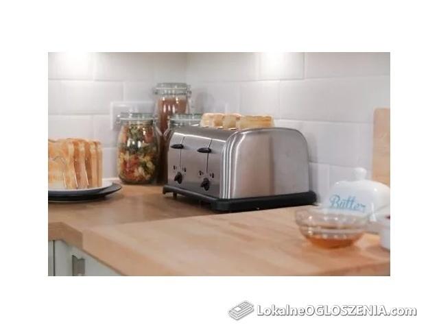 Nowy, srebrny toster, opiekacz na 4 kromki duży 1750W