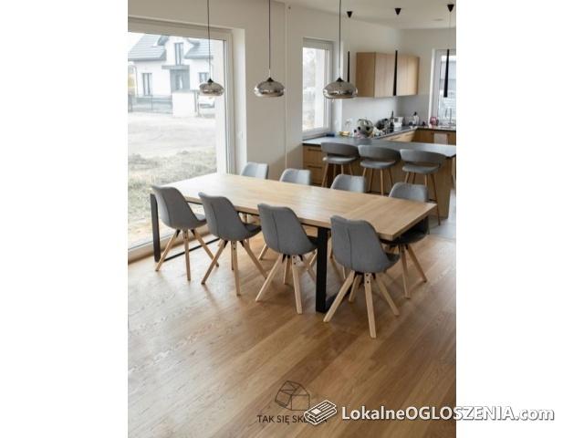 #U - Stół drewniany rozkładany | 160x80 dąb loft drewno | OLEJ GRATIS
