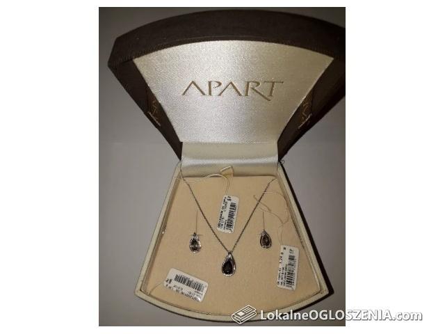 DzieńKobiet Komplet biżuterii Kolczyki Białe złoto Diament Kwarc dymny
