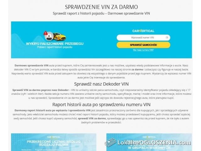 Sprawdź VIN za Darmo - Sprawdzenie auta po VIN Darmowe