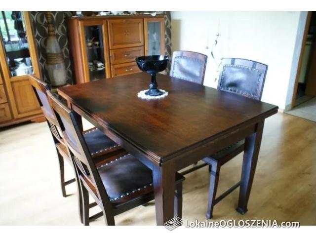 Stary stół secesyjny plus 4 krzesła