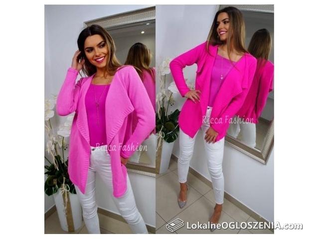 Sweter damski wiosenne kolory pastele neony narzutka tęczowy S-XL
