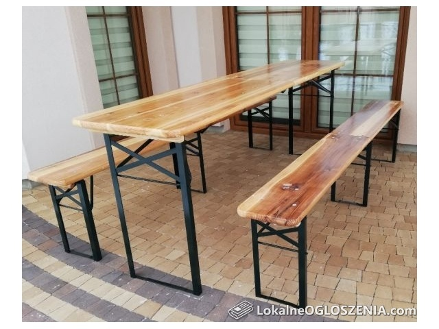 Zestaw piwny ogrodowy składany stół + 2 ławki 220 cm drewno