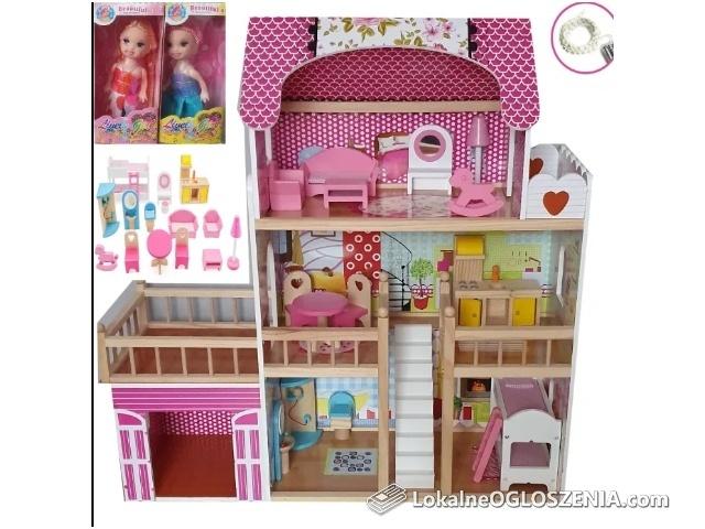Domek dla lalek z garażem, meblami, basenem i 2 LALKI GRATIS