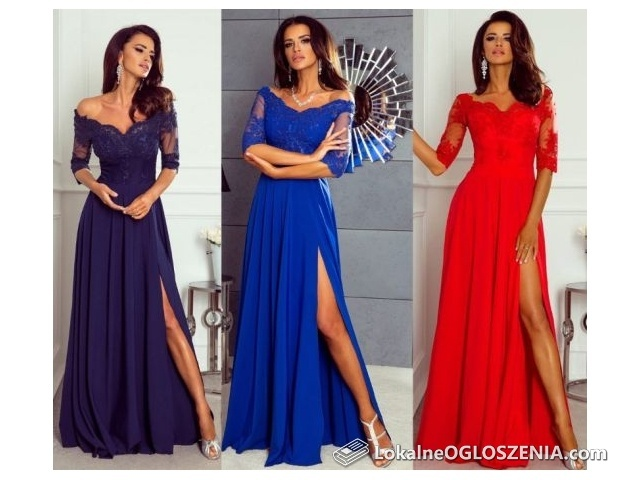 Sukienka elegancka, długa, rozkloszowana, koronka, wesele, bal, 36-44