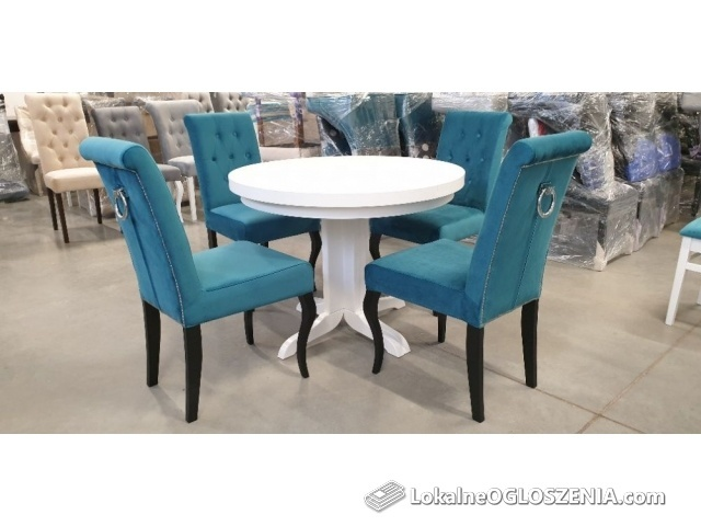 Krzesło z kołatką pikowane czarne Chesterfield do salonu jadalni nowe