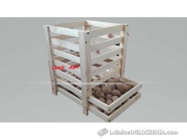 Skrzynka drewniana na ziemniaki z podajnikiem