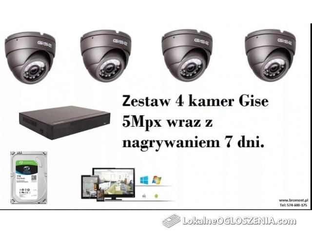 Zestaw 4Kamery 5mpx do domu firmy Montaż Monitoringu Kamer Kraków