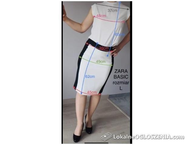 NOWA Spódnica biało-czarna ZARA rozmiar M i L