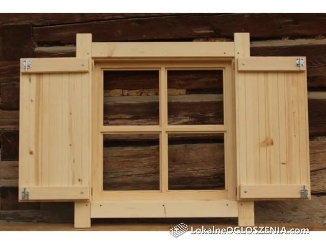 Okno drewniane z okiennicą Domek altana garaż wiata okiennice 75x75cm