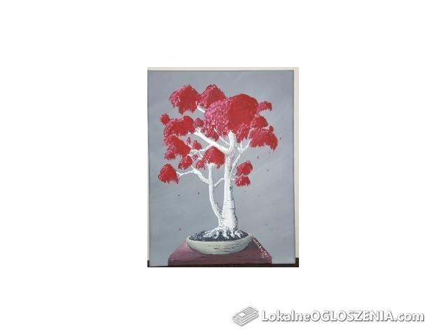 Drzewko Bonsai obraz ręcznie malowany 30x40 obrazek prezent okazja