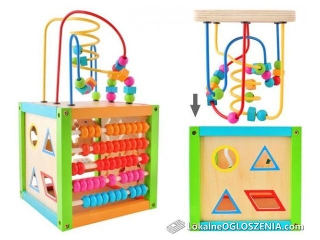 Kostka dla dzieci edukacyjna drewniana 5w1
