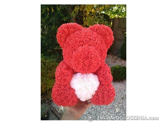 Rose Bear Miś z róż 40cm Walentynki