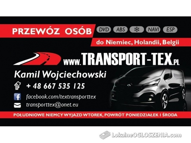 Przewóz osób - transport aut Niemcy, Belgia, Holandia