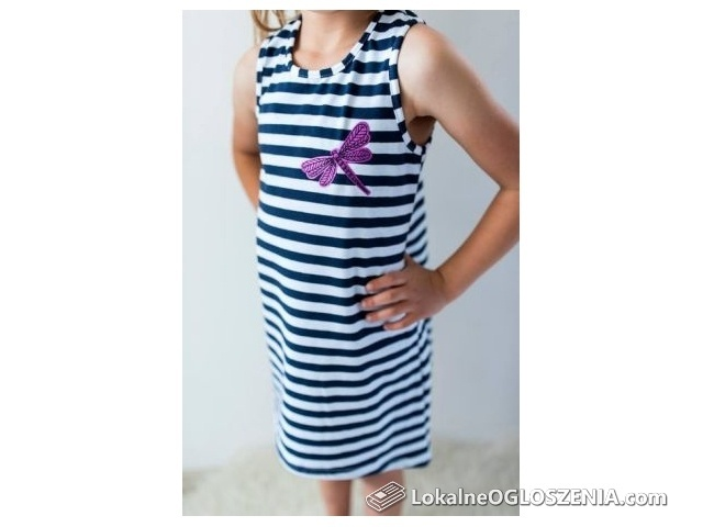 LILY GREY Bawełniana sukienka paski ważka lato 128