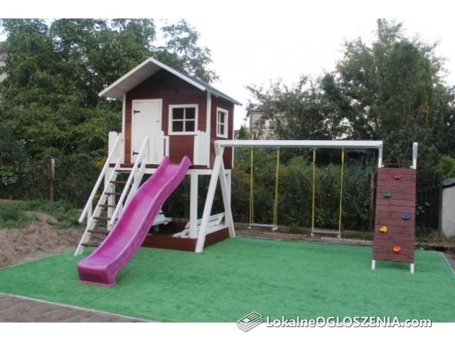 Domek domki dla dzieci z placem zabaw RATY malowany