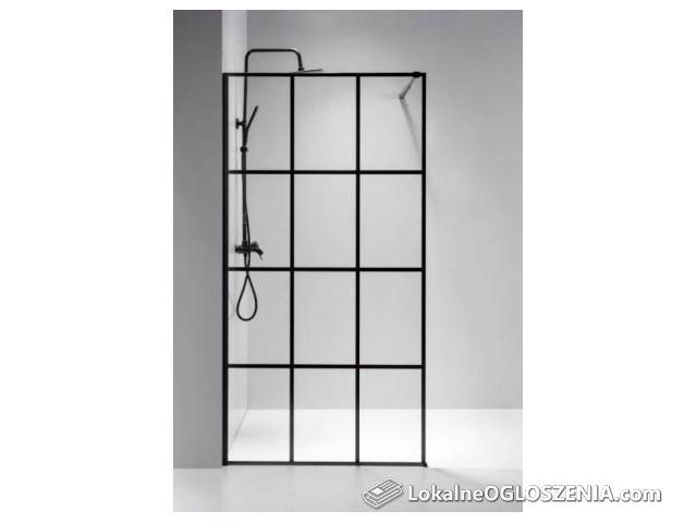 Ścianka prysznicowa czarna 80,90,100,110,120/195, Easy Clean, 8mm