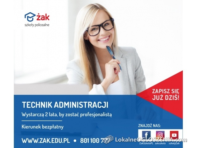 Technik administracji, Szkoła Żak za darmo