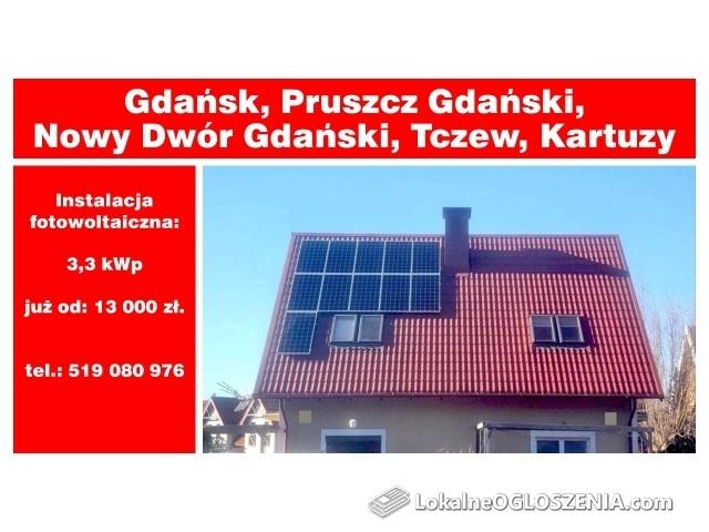 Fotowoltaika- Gdańsk, Pruszcz Gdański, Nowy Dwór Gdański, Tczew, Kartuzy