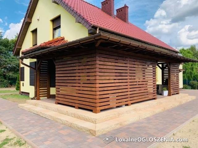 Wiaty tarasy altanki domki ogrodowe narzędziowe drewutnie
