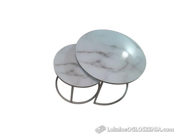 Podwójny stolik kawowy,okrągły, srebrny blat szkło hartowane