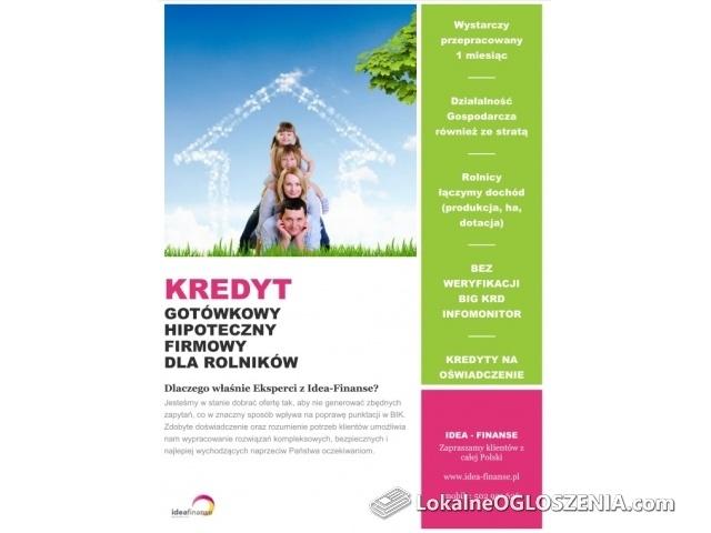 Kredyt dla każdego do 220 000 - Bez BIG KRD - KPiR Strata - Umowa od 1 miesiąca
