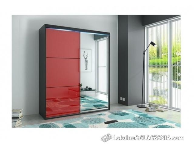 Dwudrzwiowa szafa z lustrem i kolorowym szkłem lacobel Porto 12 150 cm