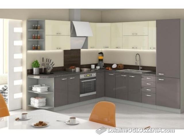 Kuchnia narożna , meble kuchenne połysk. szafki lakierowane 4 kolory